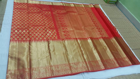 Kanchipuram pure silk saree - bridal collection : Red Gold