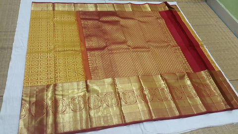 Kanchipuram pure silk saree - bridal collection : yellow red