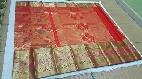 Kanchipuram pure silk saree - bridal collection : Red multicolor
