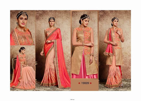 SNP saree with blouse or kurti - peach