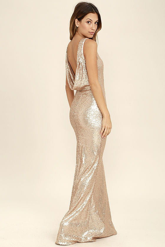 Clemonte Matte rose gold sequin maxi dress