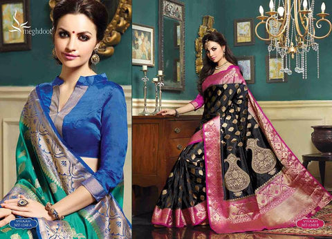 Royal wedding traditional ethnic banarasi silk saree :multi