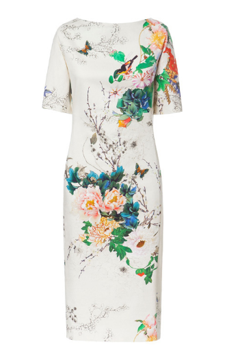 Clemonte Boat neck floral bird print retro style vintage dress for women