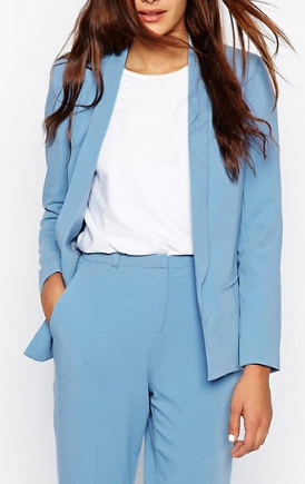 Clemonte Blue Jacket In Crepe With Lapel Detail