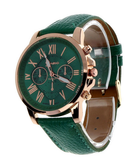 Clemonte Cronus Ladies Watch - Roman Numerals Faux Dark Green Leather