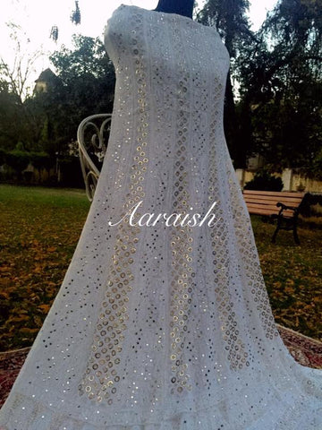 Aaraish Pure Ggt  Mukaish and Chikan anarkali suit - white(dyeable)