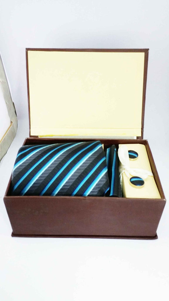 Aristocrate Blue silk tie cuff link and handkerchief set