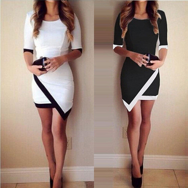 Clemonte Monochrome patchwork bodycon dress