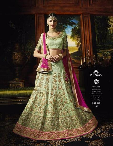 Riwaaz Rangrez collection - Mint Green Pink lehenga