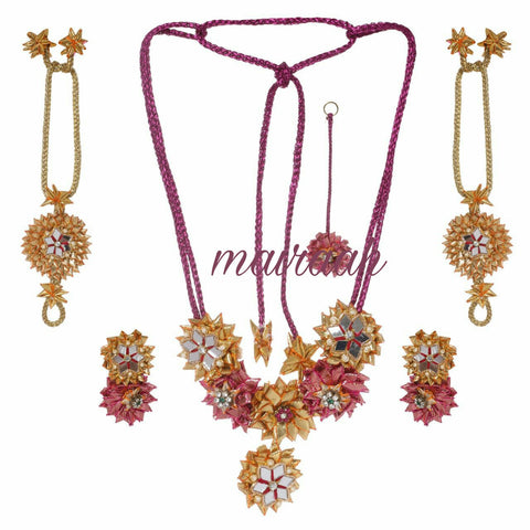 Floral gold pink  gota patti  jewellery set for Mehndi