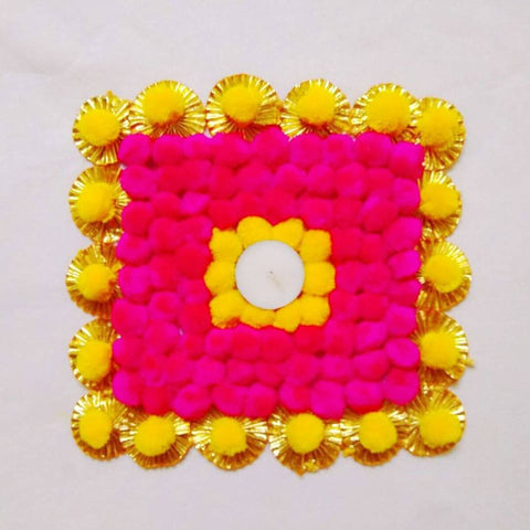 Diwali home decor -Handcrafted gota pompom mat - set of 1 - yellow pink