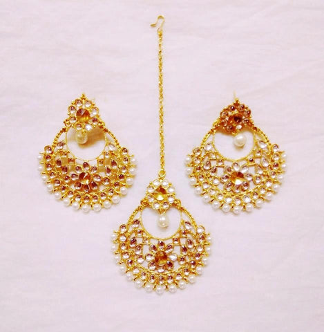 Supushp gold plated pearl kundan jewellery set