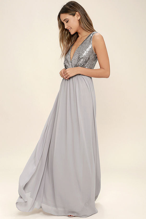 Clemonte adore silver sequin maxi dress