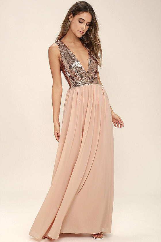 Clemonte adore rose gold sequin maxi dress