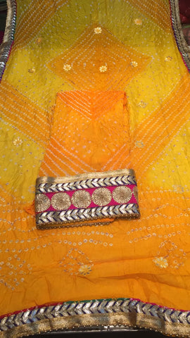 Clemonte Rewaaz bandhej suit with gota border - yellow