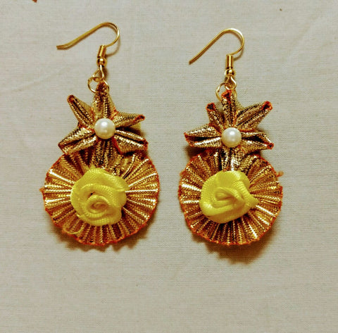 Supushp Floral yellow  rose gota dangler earrings