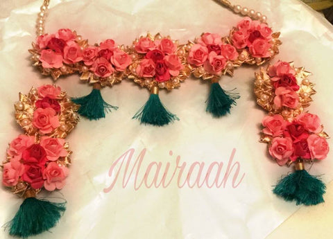 Mairaah floral peach rose with tassels gota jewellery set