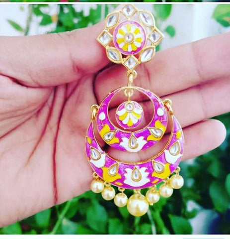 Pink with yellow Gorgeous Meenakari Earrings