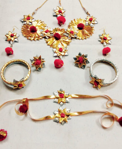 Supushp Gota Patti full bridal Sets - gold red