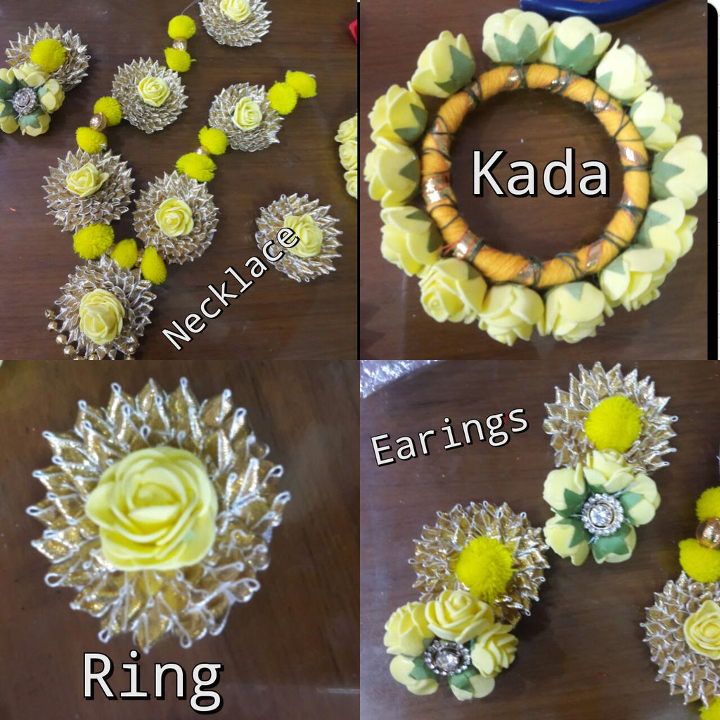 yellow rose floral jewellery set for brides wedding and mehndi ...