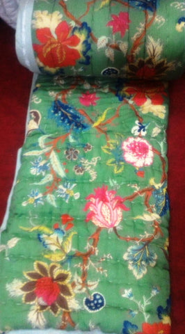 Block print cotton bedsheet and quilt Floral Motif - Multicolor Birds green