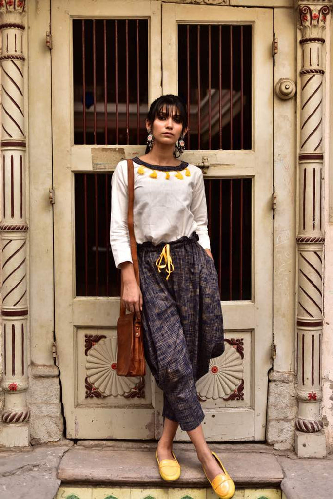 Clemonte Boho vibes : Khadi yellow tassel top with black khadi linen pants - set of two