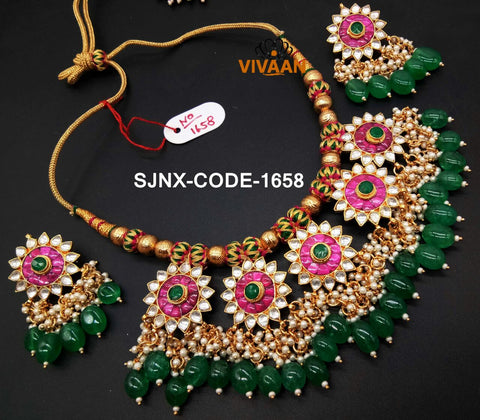 Padmavati  Deepika Padukone Jewellery - Ranisa Pink Green meenakari kundan necklace set with chandbali earrings