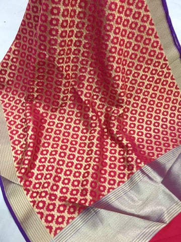 Banarasi style patterned zari woven dupatta - red