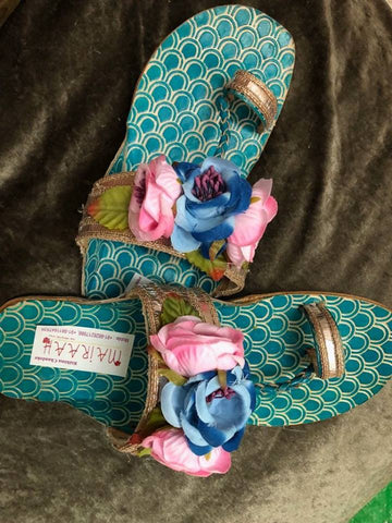 Floral Gota Kolhapuris with multicolor roses - blue