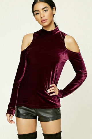 Clemonte Burgundy cut out shoulder velvet top