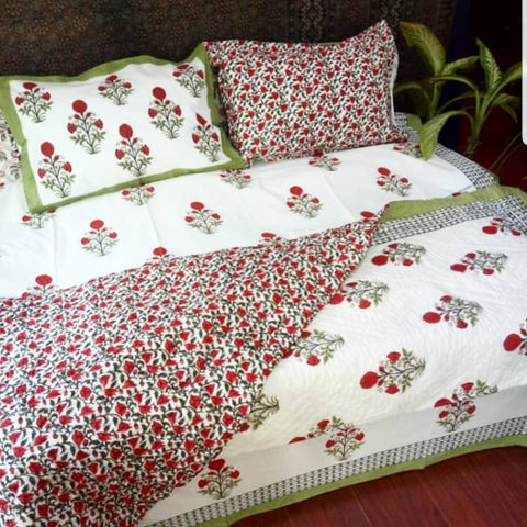 Naayaab Block print cotton bedsheet Floral Motif -The Autumn Garden - Green Red