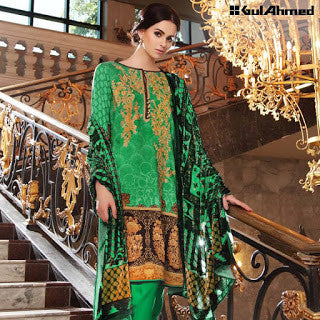 Gul ahmed embroidered silk velvet winter suit - green