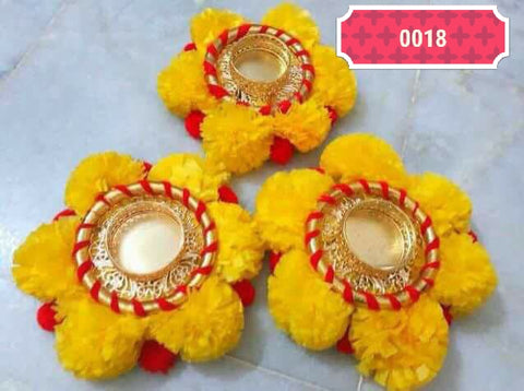 Diwali home decor -Handcrafted floral yellow marigold tealight candle holder