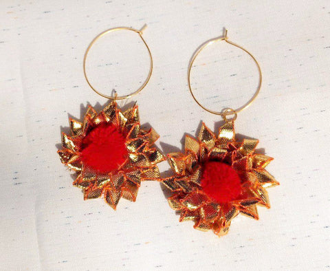 Supushp Floral red hoop dangler earrings