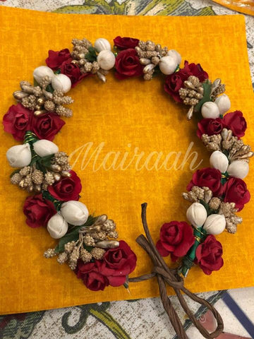 Red Floral Handcrafted bridal gajra hair accessory