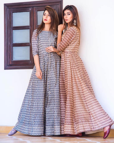 Ajrakh Block print long maxi gown