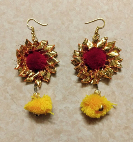 Supushp Floral yellow red rose gota dangler earrings