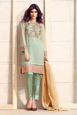 Baroque Fuchsia Chiffon Collection designer suit - pastel mint