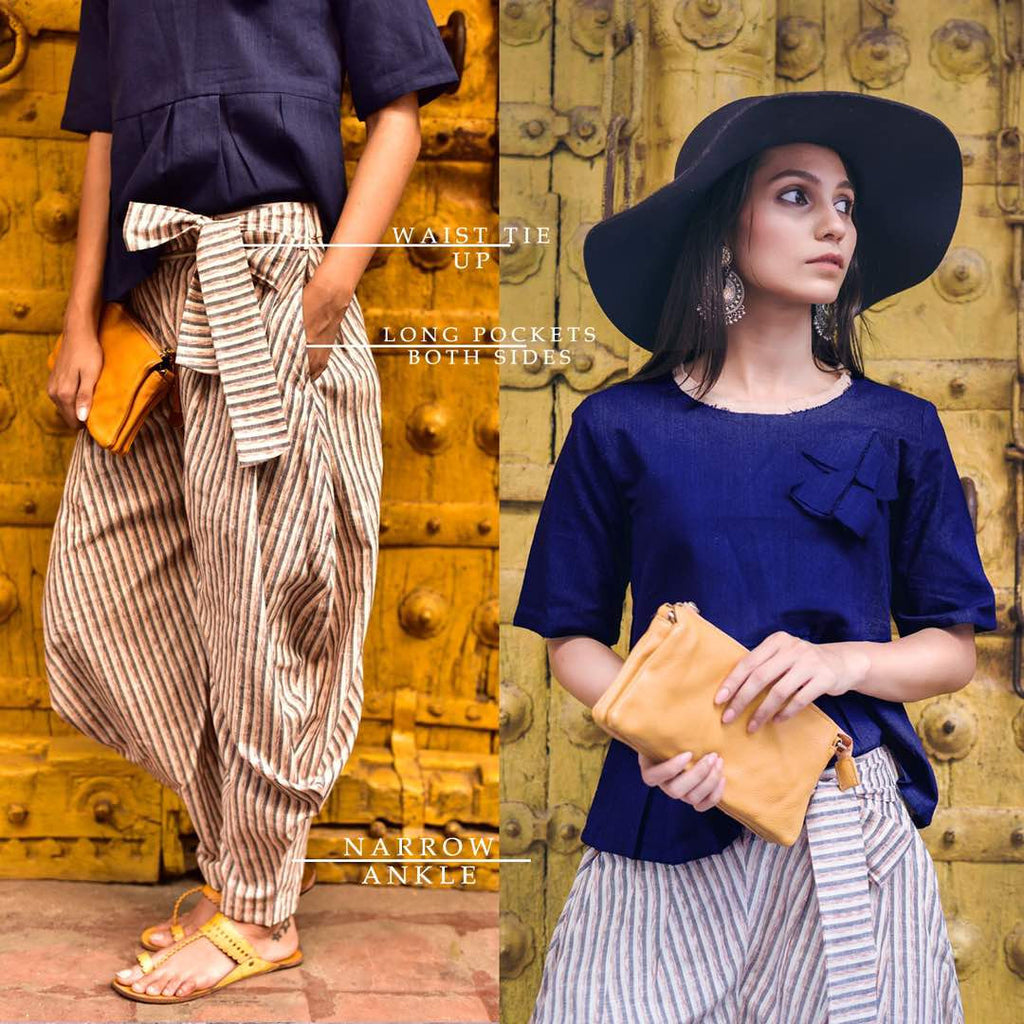 Clemonte Boho vibes :  Navy blue solid top with pinstripe grey khadi linen pants - set of two