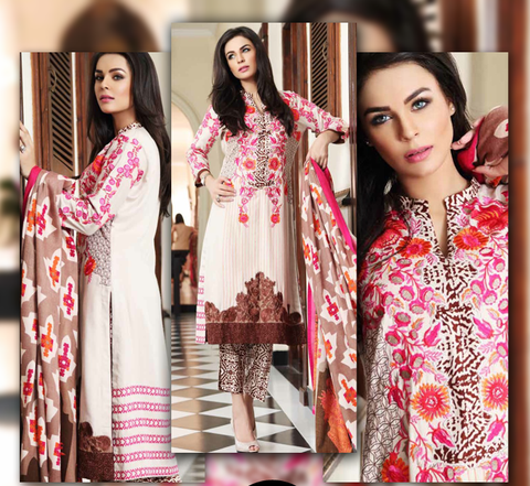Floral pink Embroidered Linen Suit with Pashmina Shawl - Fall/Winter collection