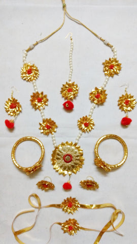 Supushp  Gota Patti full bridal Sets - golden red with pearl strings
