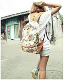 Clemonte Floral Printed Canvas Backpack - orange