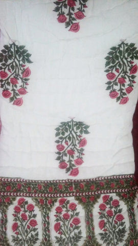 Block print cotton bedsheet and quilt Floral Motif -The Autumn Garden -Red