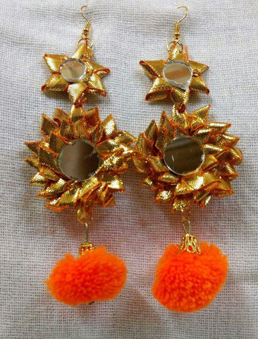 Supushp Floral mirror gota dangler earrings with orange pompom