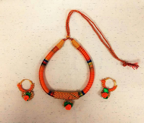 Supushp Indo Western Gota Patti Threaded Sets - orange rose
