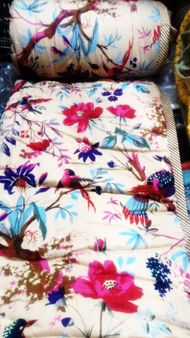 Block print cotton bedsheet and quilt Floral Motif - Multicolor Birds