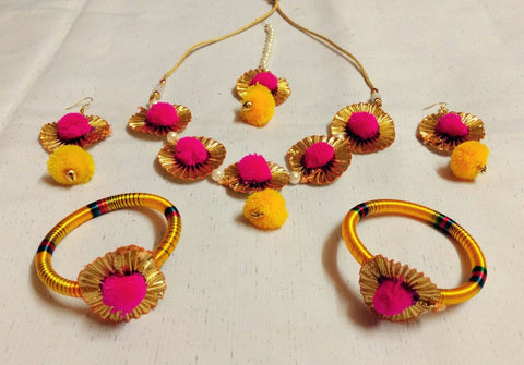 Supushp bright yellow pink gota jewellery set