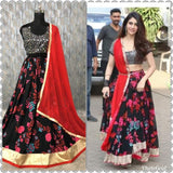 LoveYatri movie Dholida song Red Navratri Dandiya chaniya choli lehenga with mirror work blouse