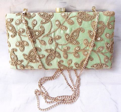 Clemonte mint green zardozi clutch with gota embroidery and sequins