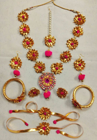 Supushp Gota Patti full bridal Sets - golden pink with pearl strings